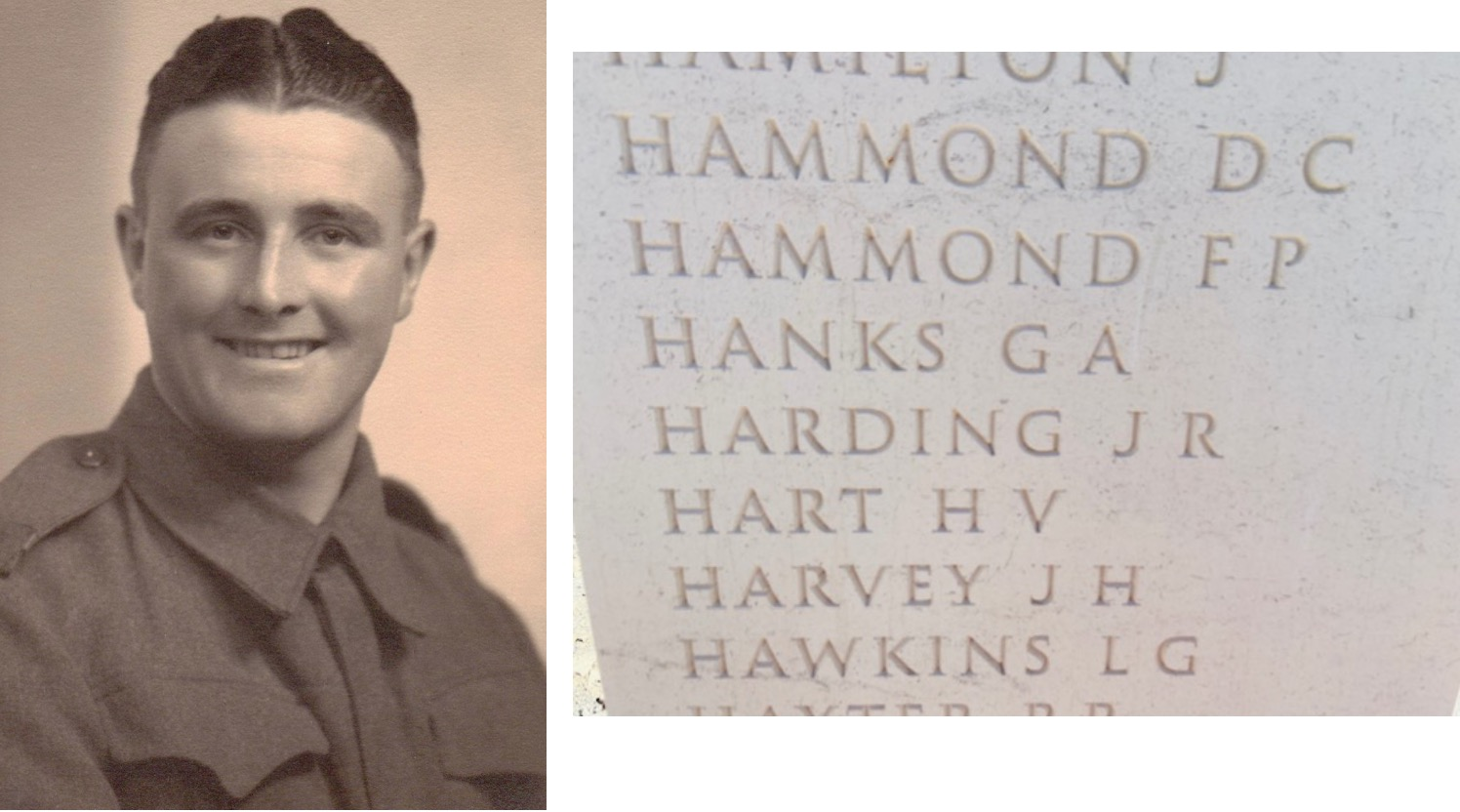 Picture of George and his name engraved on the British Normandy Memorial .
