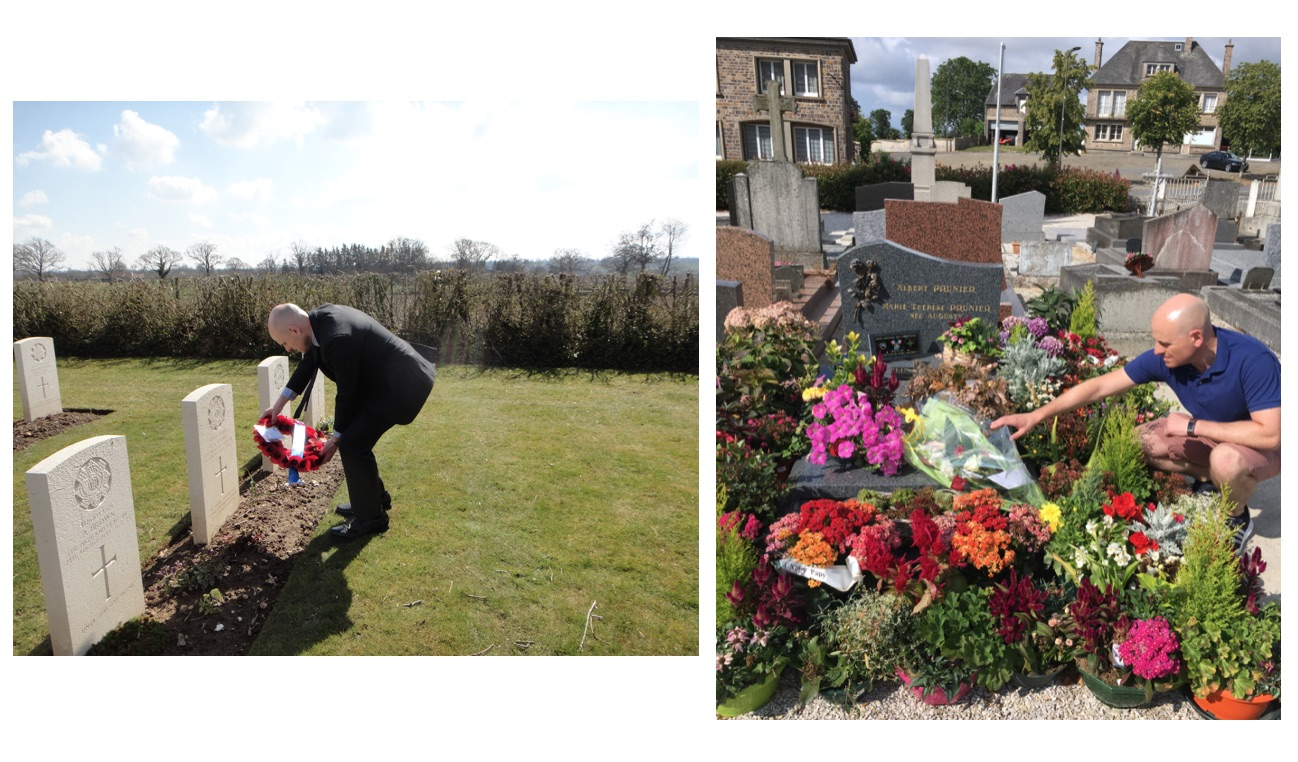 Left to right - Paul visiting George's grave in 2016, and the grave of Albert Prunier on 7 August 2019, coinciding with the 75thanniversary of his grandfather's passing.