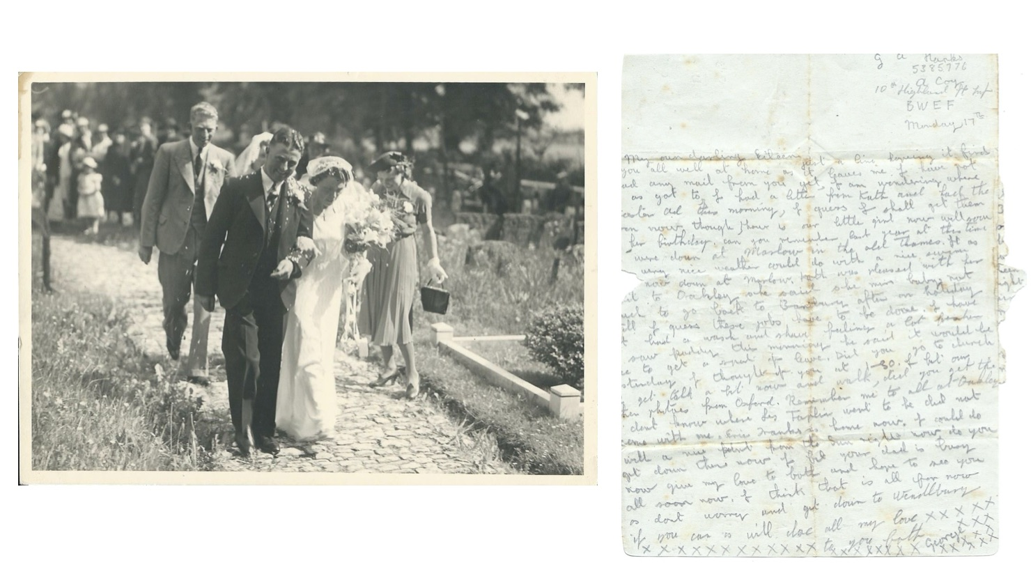 George and Hilda's wedding day in May 1940 and one of the many love letters sent by George in summer 1944.